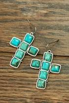 Natural-turquoise Cross Earring