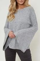 Grey Bell-sleeve Knit-top