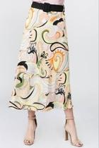 Printed Belted Midi Skirt