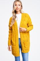 Chenille Chunky Cable Knit Cardigan