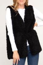 Faux-fur Vest, Black