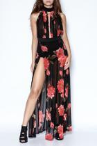 Mesh Flower Long Dress