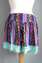 Aztec-print Lace-trim Shorts