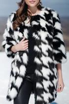 Faux Fox Houndstooth Coat
