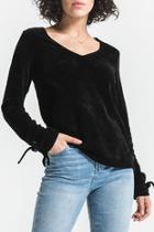 Vega V-neck Chenille Sweater W Sleeve Ties