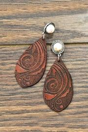 Natural-white-turquoise Tooling-leather Earrings