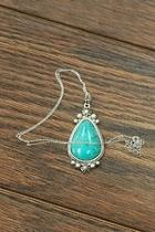 Natural-turquoise-charm Sterling-silver-chain Necklace