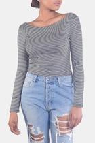 Striped Long-sleeve Crop-top
