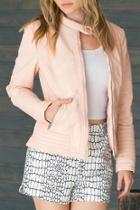 Pink Vegan-leather Jacket