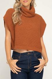 Sleeveless Cowl Neck Knit Sweater Crop Top