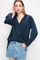 Navy Polkadot Top
