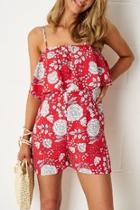 Red-floral Overlay Playsuit