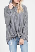 Striped-knit Hooded Top