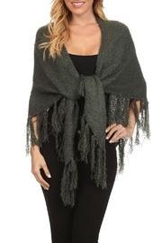 Dark-sage Green-knit Shawl