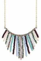 Gold-facet-bead Bib Necklace