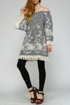 Floral-embroidered Off-shoulder Dress