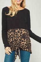 Contrast Leopard Tie-front