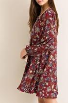 Burgundy Floral-print Dress