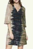 Tri Color Tie Dye Vneck Print Dress