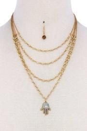 Layered Hamsa Necklace-set
