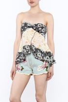 Strapless Floral Printed Top