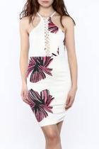 Flower Print Lace-up Dress
