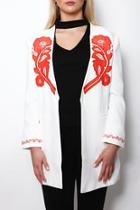 Embroidered Coral Blazer