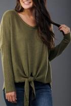 Olive Tie-front Thermal
