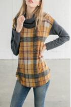 Plaid Cowl Neck Sweater