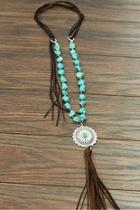 Natural Turquoise Concho-necklace