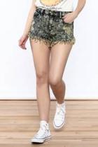 Acid-wash Denim Shorts