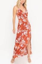 Floral Satin Maxi-dress