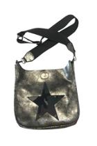 Distressed Silver Faux Leather Messenger W/military Camo Canvas Star