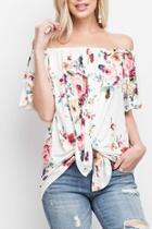 Floral Off-shoulder Tie-front