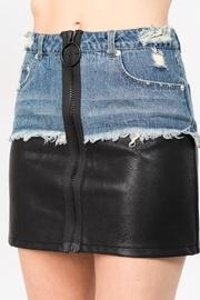 Denim Leather Skirt