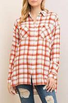 Plaid Side Slit Shirt