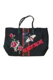 Black Nylon Stripe Blind For Love Patch Tote