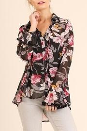 Orchid-print Sheer Blouse