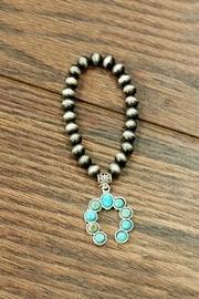 Squash-blossom Natural-turquoise Stretch-bracelet
