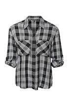 Plaid Button Shirt Top