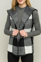 Drape-front Checker Vest