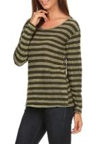 Olive-striped Long-sleeve Tee