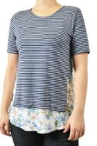 Striped Floral-panel Tee