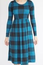 Teal Checkered Dress