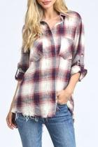 Raw-hem Plaid Shirt