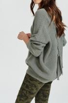 Mint Tie-back Sweater