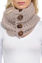 Knit Button Infinity-scarf