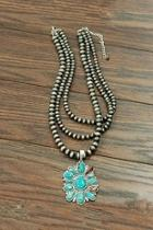Natural-turquoise Pendent Necklace