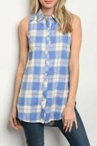 Blue Checkered Top