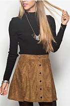 Suede Snap Skirt